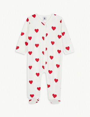PETIT BATEAU Heart print cotton all-in-one 0-24 months