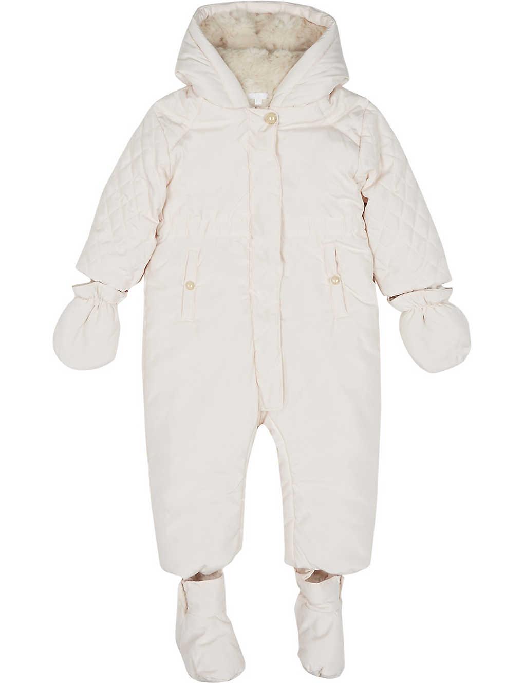 2e5959e92 CHLOE - Faux-fur lined quilted snowsuit 1-18 month   Selfridges.com
