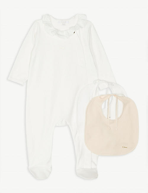 ede9209488f0 CHLOE Ruffle bodysuit and two bibs gift set 1-9 months