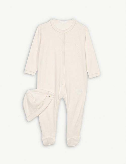 CHLOE Cotton bodysuit and hat gift set 1-12 months