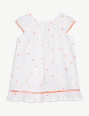 BILLIE BLUSH Spotted cotton smock dress 3-36 months
