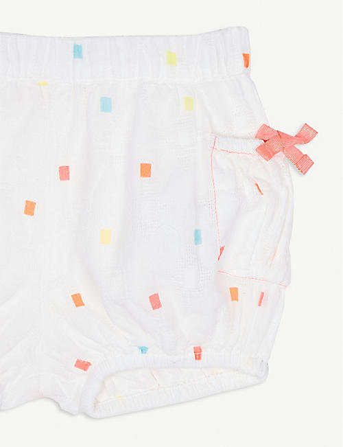 BILLIE BLUSH Cotton spot bloomer shorts 6-12 months