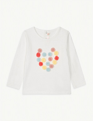 BILLIE BLUSH Pom-pom heart cotton top 6-36 months