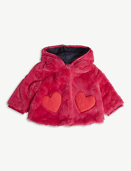 BILLIE BLUSH Heart patch faux-fur hooded jacket 6-36 months