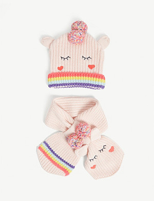 BILLIE BLUSH Rainbow trim knitted hat and scarf set 0-18 months