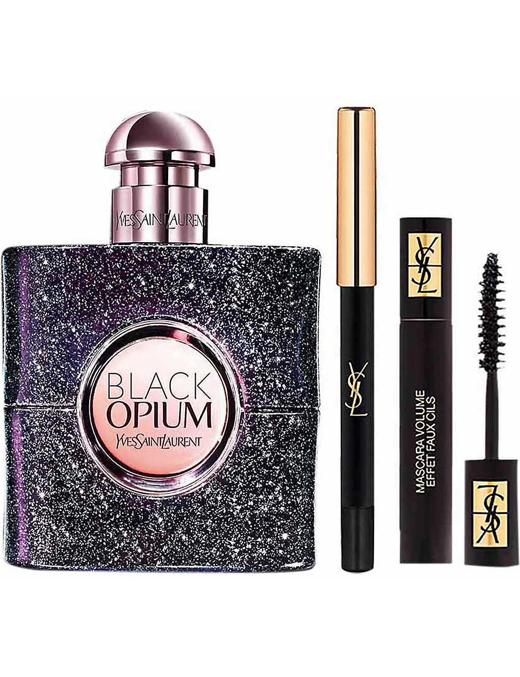 c6b9c3f9f877 YVES SAINT LAURENT Black Opium Nuit Blanche eau de parfum and makeup gift  set