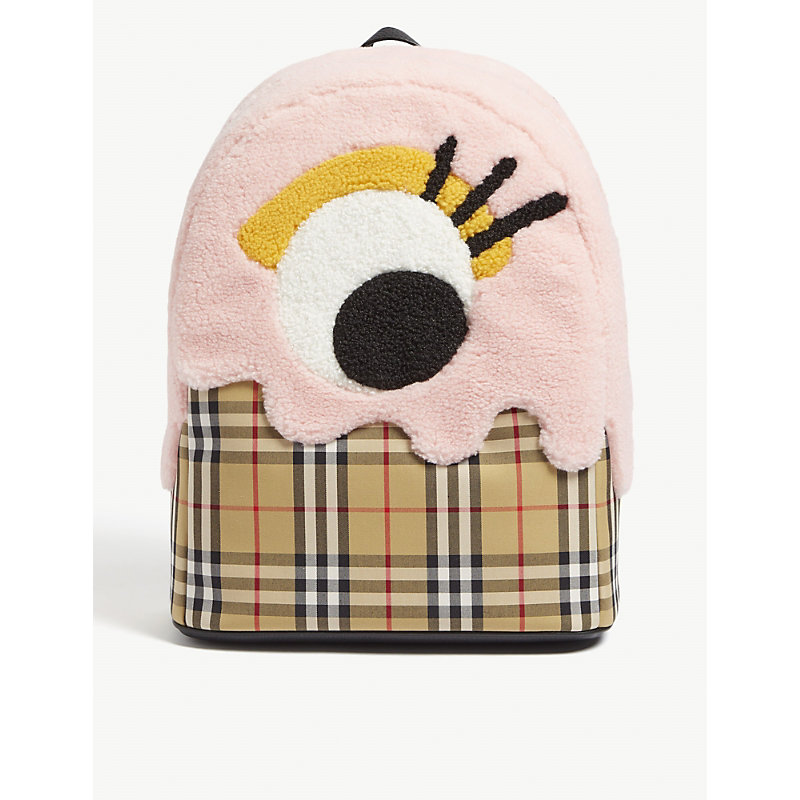 Monster Motif Vintage Check Backpack, Antique Yellow