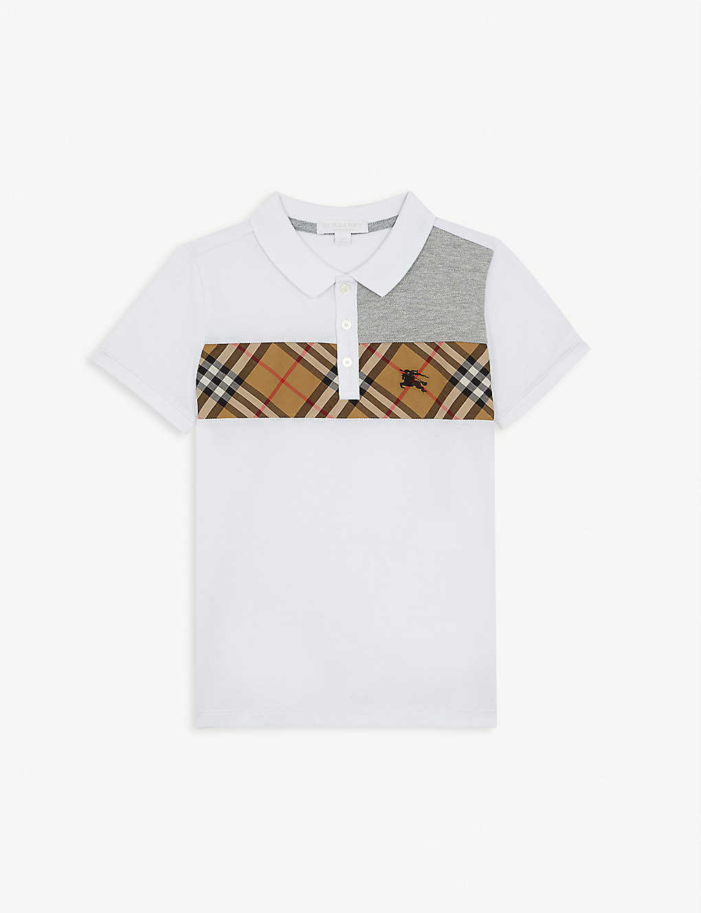 9a5df4535 BURBERRY - Check print contrast cotton polo shirt 4-14 years ...