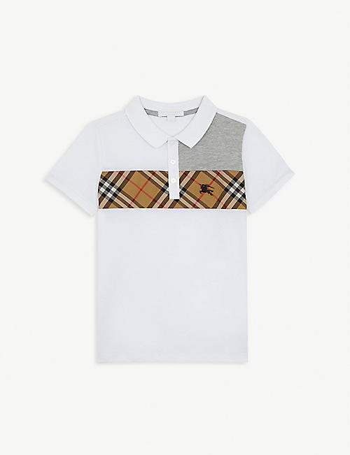 BURBERRY Check print contrast cotton polo shirt 4-14 years 6b4bd3de2c6