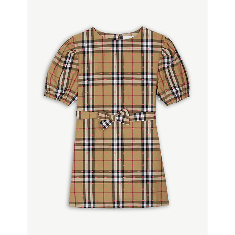 BURBERRY | Check Dot Cotton Dress 4-14 Years | Goxip