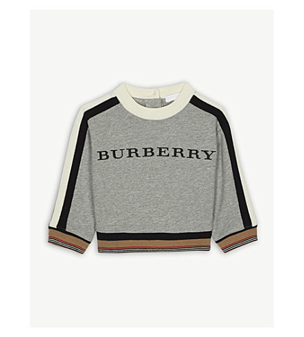 19fa1400f BURBERRY - Embroidered logo cotton sweatshirt 6-36 months ...