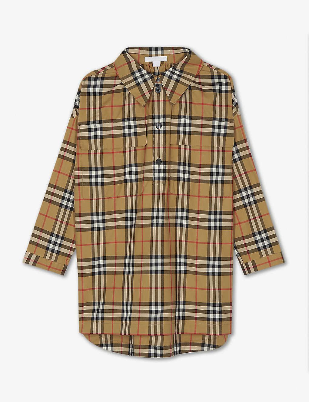 9d1d6757f8d BURBERRY - Vintage check cotton long-sleeve dress 4-14 years ...