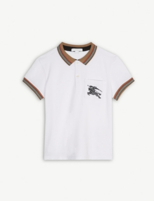 BURBERRY Stripe logo print cotton polo shirt 4-14 years