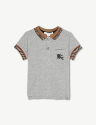 BURBERRY Striped trim cotton polo shirt 6-36 months