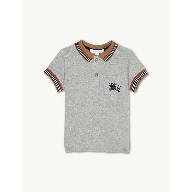BURBERRY | Striped Trim Cotton Polo Shirt 6-36 Months | Goxip