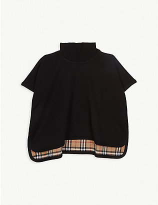 BURBERRY: Beatrix reversible knitted cape 4-14 years