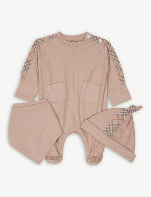 55c7f2d813be BURBERRY - Kirk check cotton romper 3-24 months