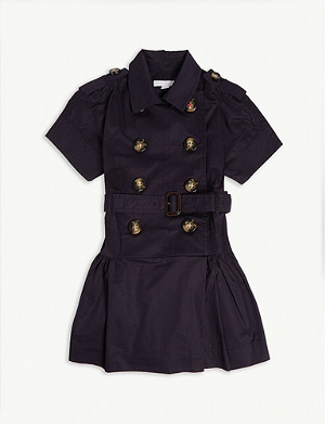 BURBERRY Cynthie cotton-blend trench dress 3-10 years
