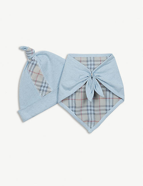BURBERRY Colby check bodysuit, hat and bib gift set 1-6 months