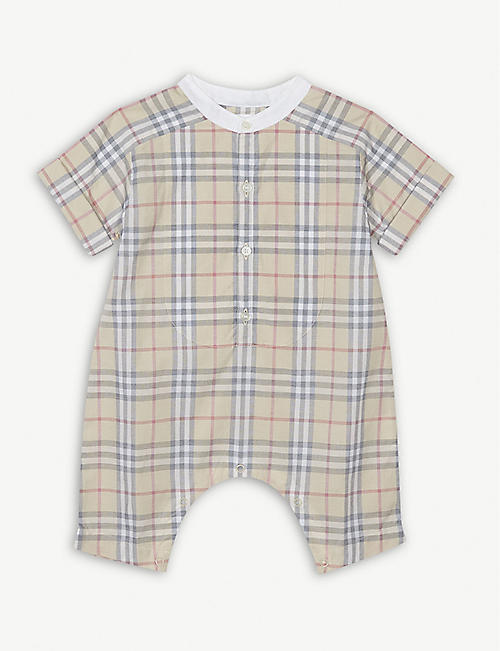BURBERRY Colton bib detail check jumpsuit 3-18 months