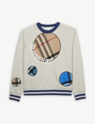 BURBERRY Cotton jumper with cashmere check spots 4-14 years