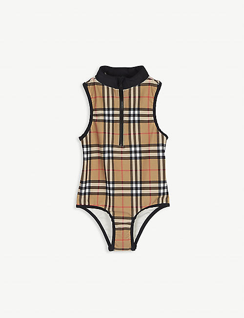 BURBERRY: Vintage check swimsuit 4-14 years