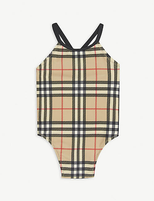BURBERRY: Vintage check frilled swimsuit 6-24 months