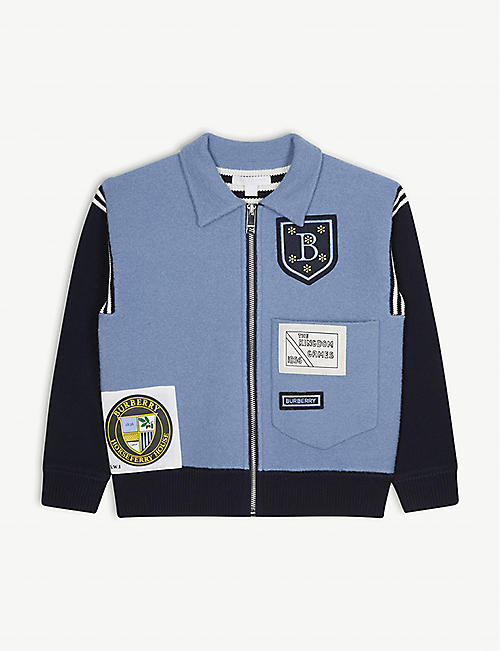 76e8be2bac21 BURBERRY Willson patch wool bomber jacket 3-14 years