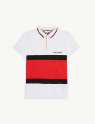 BURBERRY Logo striped panel cotton polo shirt 10-14 years