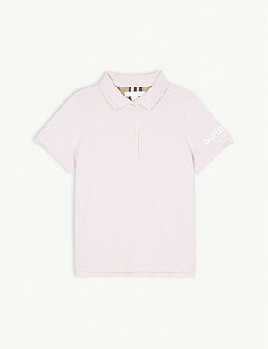 BURBERRY Scalloped collar cotton polo shirt 3-14 years