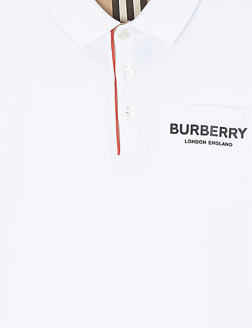BURBERRY Branded cotton polo shirt 3-14 years