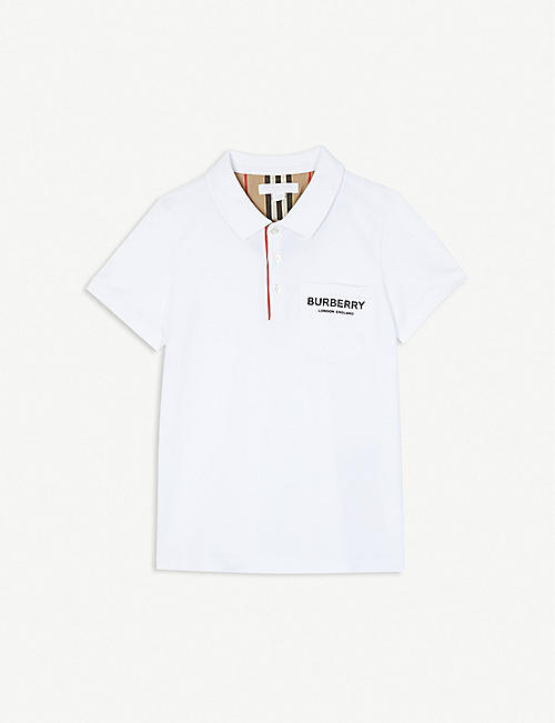 d162bd1840af BURBERRY Branded cotton polo shirt 3-14 years
