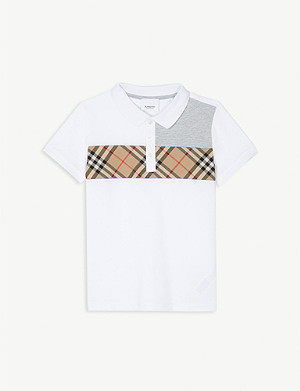 BURBERRY Panelled check cotton polo shirt 4-14 years