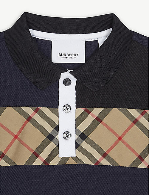 BURBERRY Jeff check chest cotton polo shirt 3-16 years