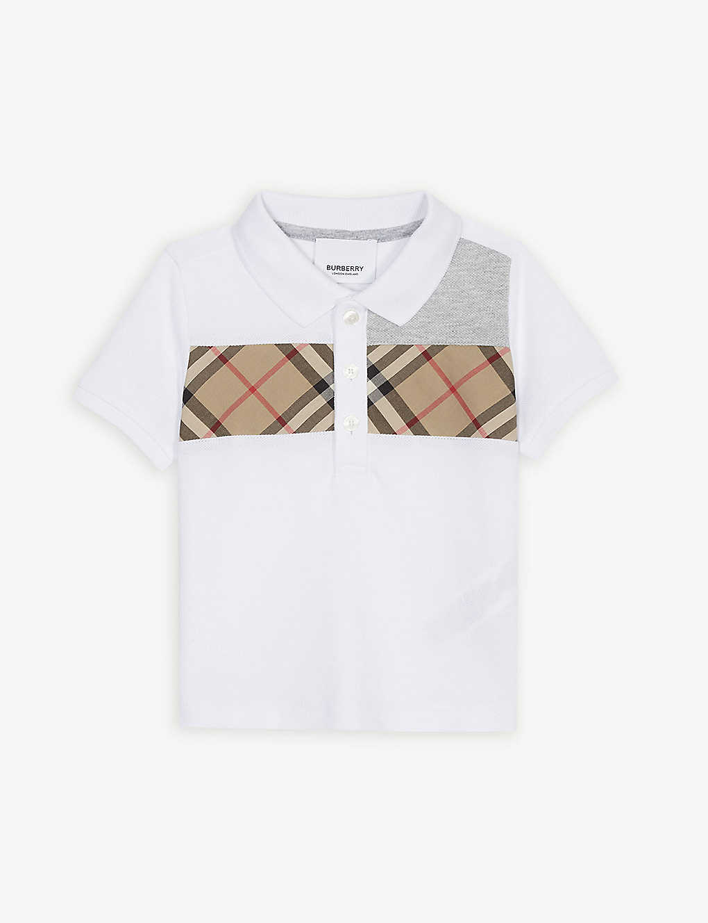 b45ebdd4 BURBERRY - Panelled check cotton polo shirt 6-24 months | Selfridges.com