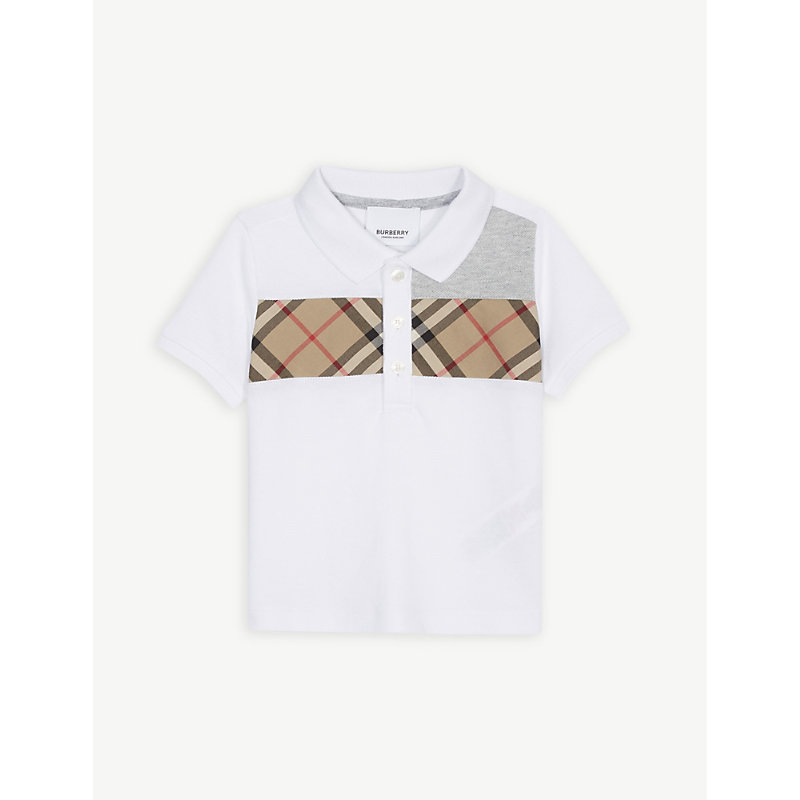 BURBERRY | Panelled Check Cotton Polo Shirt 6-24 Months | Goxip