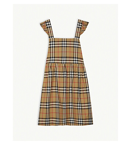 25a21227741 BURBERRY Livia Vintage check pinafore cotton dress 3-14 years (Antique+check