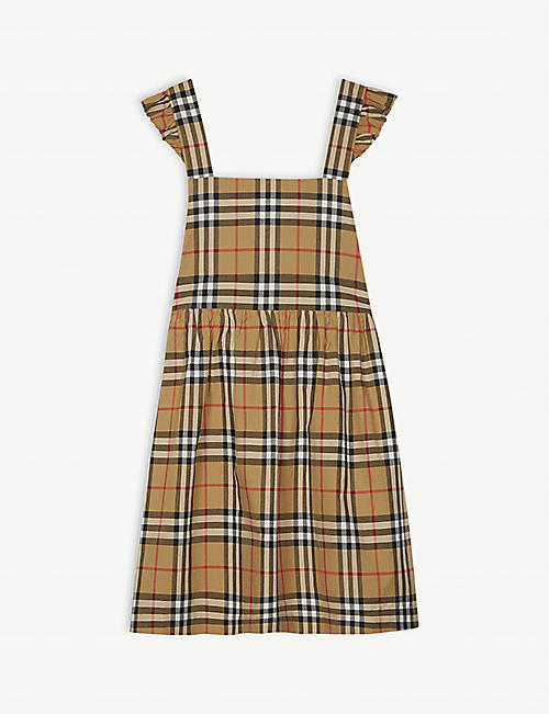 217a65da02a BURBERRY Livia Vintage check pinafore cotton dress 3-14 years