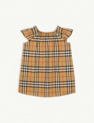 BURBERRY Vintage check frilled cotton dress 6-24 months
