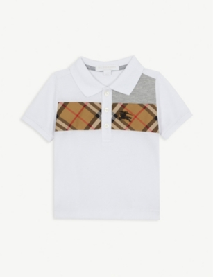 BURBERRY Check print contrast cotton polo shirt 4-14 years