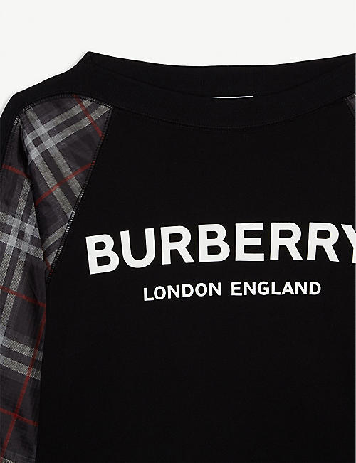 BURBERRY Esther check panel cotton jumper 3-14 years