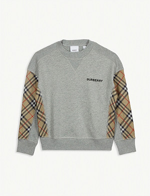 BURBERRY Check panels cotton jumper 3-14 years