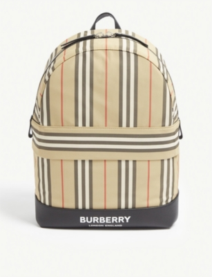 BURBERRY Icon stripe nylon backpack