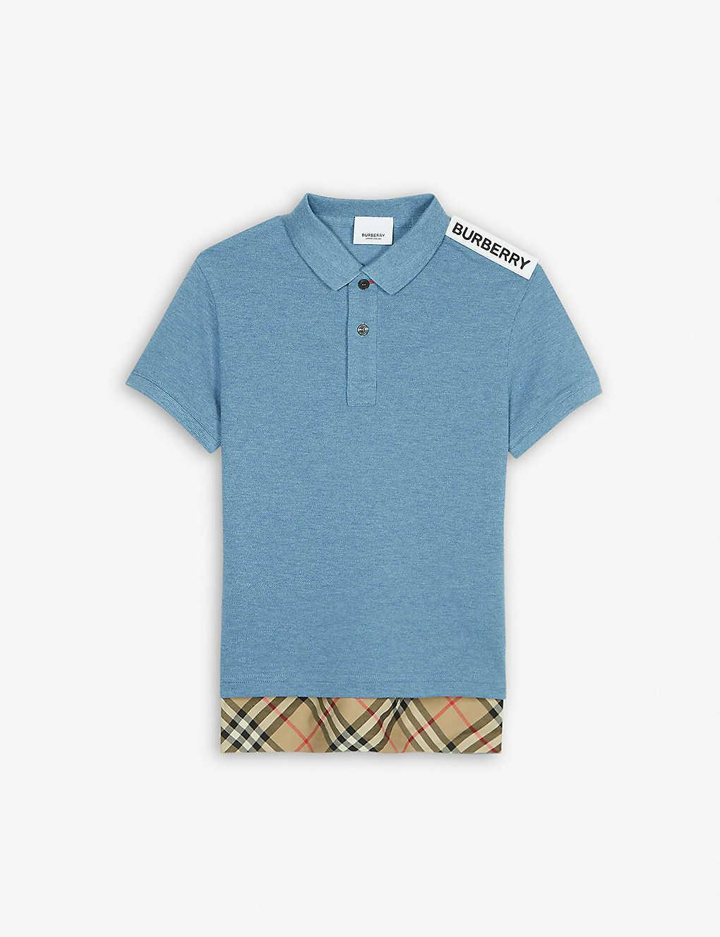 ebd1103d BURBERRY - Long hem cotton polo shirt 3-14 years | Selfridges.com