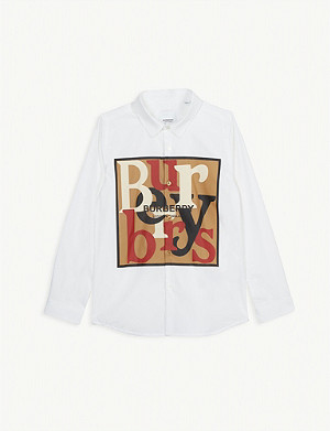 BURBERRY Logo cotton-blend shirt 3-14 years