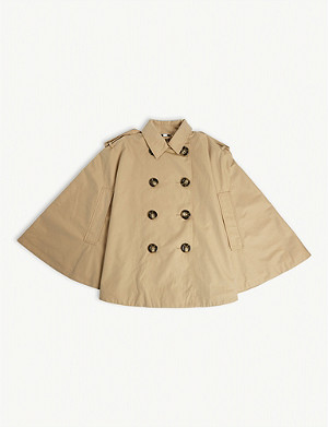 BURBERRY Double-breasted cotton trench cape M-L