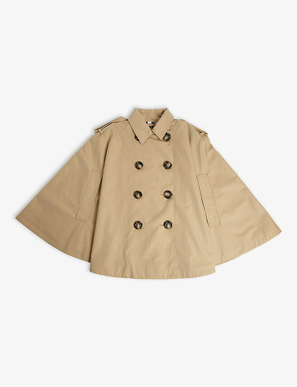 BURBERRY: Double-breasted cotton trench cape M-L