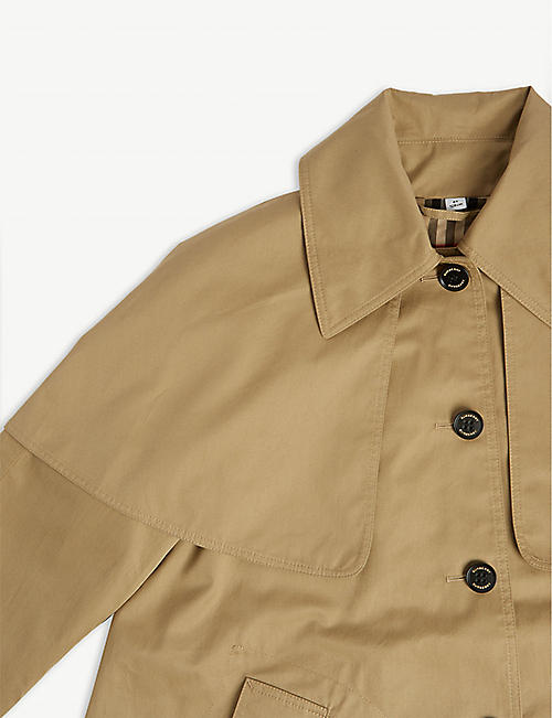 BURBERRY Detachable hood cotton trench coat 3-14 years