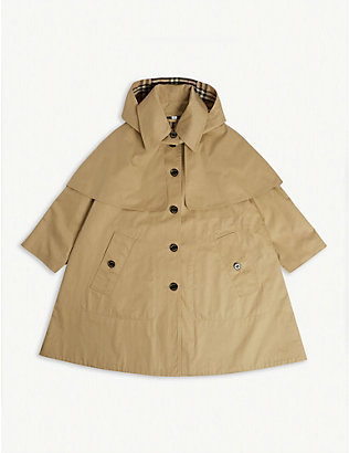 BURBERRY: Detachable hood cotton trench coat 3-14 years