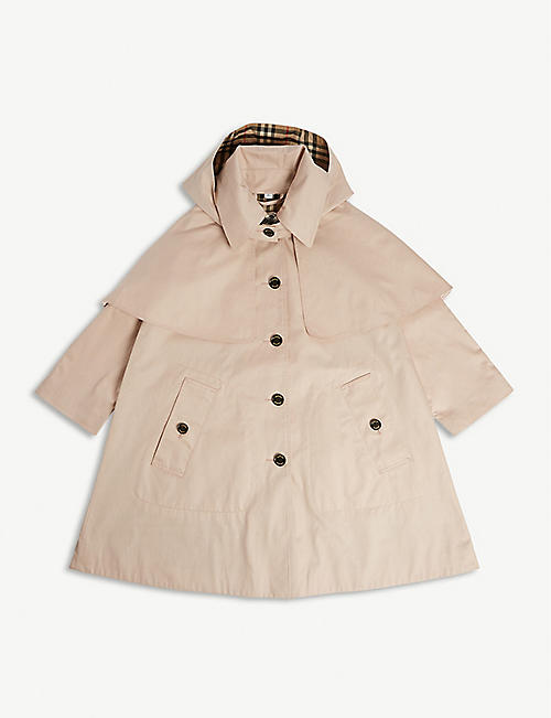 15b772b7d BURBERRY Detachable hood cotton trench coat 3-14 years